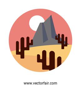 desert landscape with mountains and cactus flat style design