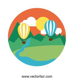 landscape scene with balloon air hot flat style icon