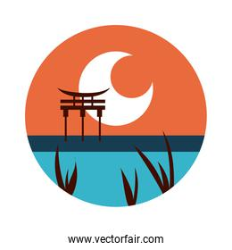 chinesse landscape scene with arch flat style icon