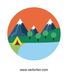 landscape scene with camping tent flat style icon