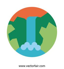 landscape scene with waterfall flat style icon