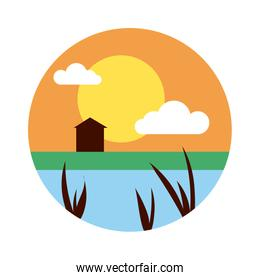 landscape with sun and house scene flat style icon