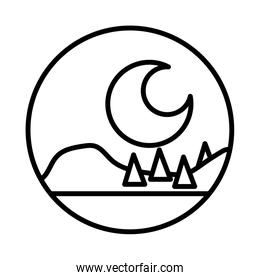 forest landscape night scene line style icon