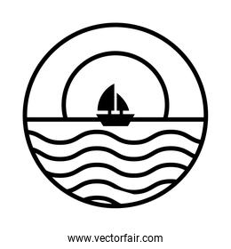 sea scape scene with moon and sailboat line style icon