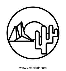 desert landscape with mountains and cactus line style icon