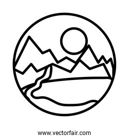 landscape scene with mountains ans river line style icon
