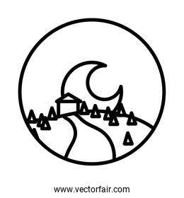 landscape scene with house and moon line style icon