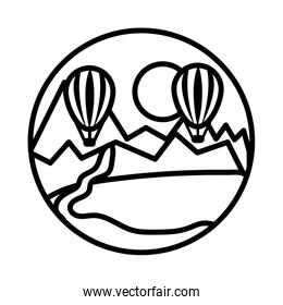 landscape scene with balloon air hot line style icon