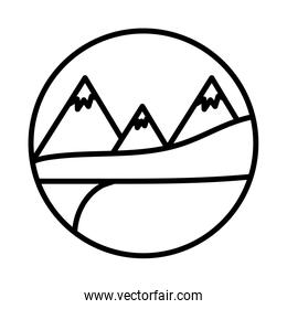 landscape with snow mountains scene line style icon