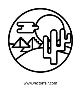 desert landscape with cactus line style icon