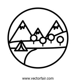 landscape scene with camping tent line style icon