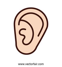 ear human sense line and fill style icon