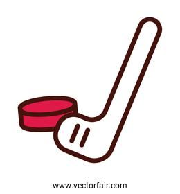 hockey sport equipment line and fill icon