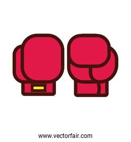 sport boxing gloves line and fill icon