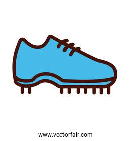soccer sport shoe line and fill icon