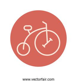 retro bicycle red block and line icon