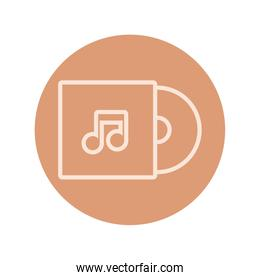 music vinyl disk record block and line icon