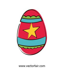 easter egg painted with star hand draw style