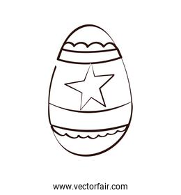 easter egg painted with star line style