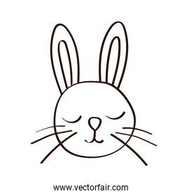 cute little rabbit easter line icon
