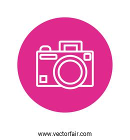photographic camera block and line style icon
