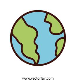 world planet earth line and fill style icon