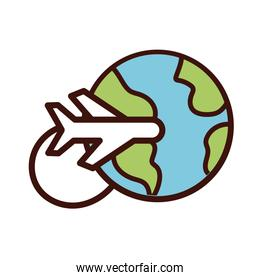 world planet earth with airplane flying line and fill style icon