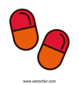 capsules drugs line and fill style icon