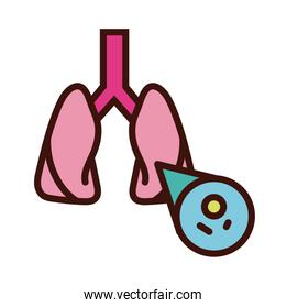 lungs with covid19 virus particle line and fill style
