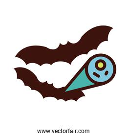 bats flying with covid19 virus particle line and fill style