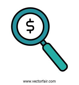 magnifying glass with dollar symbol line and fill style