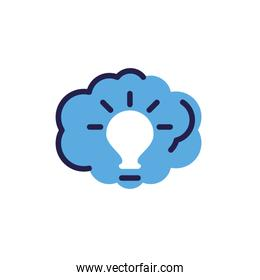 light bulb with cloud on white background