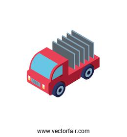 Isolated isometric red truck car vehicle vector design