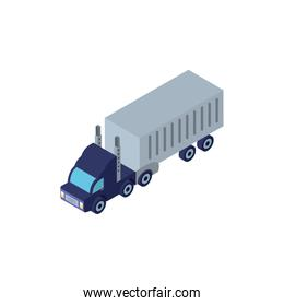 Isolated isometric blue truck vehicle vector design