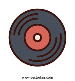 music vinyl disk record line and fill icon