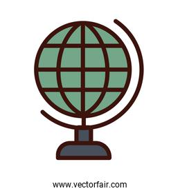 world planet line and fill style icon