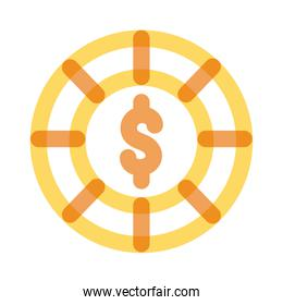 casino chips with dollar symbol multiply line style icon