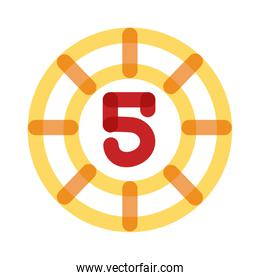 casino chips with number 5 multiply line style icon