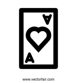 poker card with heart line style