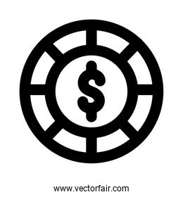 casino chips with dollar symbol line style icon