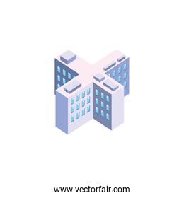 Isolated isometric white city building vector design