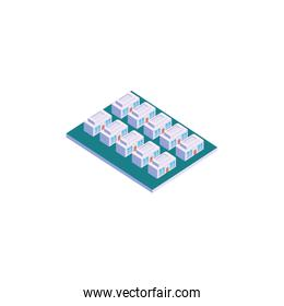 Isolated isometric white houses with windows and door vector design