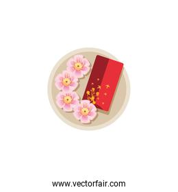 Isolated chinese flowers and red card vector design