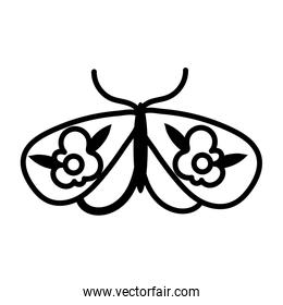 beautiful butterfly insect with flowers flat style