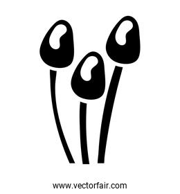 fungus plants silhouettes style icons
