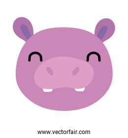 cute hippo wild animal flat style icon