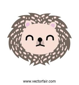 cute little porcupine animal flat style icon
