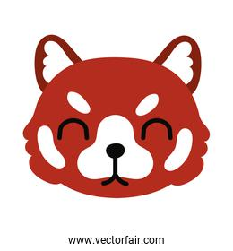 cute wolf wild animal flat style icon