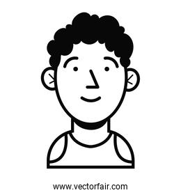 young man avatar linear style icon
