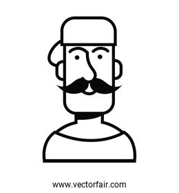 young man with mustache avatar character
